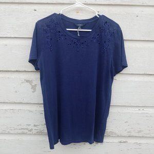 Lucky Brand Navy Blue Floral Cut-out Top
